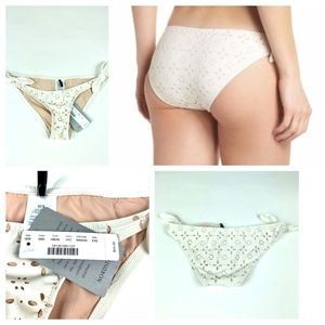 J Crew Floral Cut Out Bikini Bottom Cream XXS